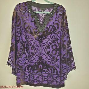 ALFANI Womens Purple Semi Sheer Burnout LS Bead